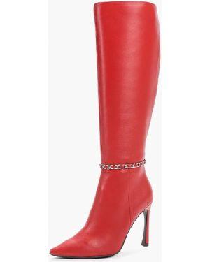 Байковые красные ботинки на каблуке на молнии Paolo Conte