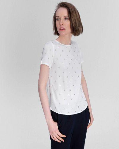 Белая блузка с короткими рукавами O'stin