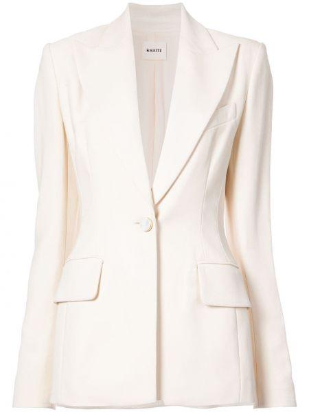 Розовый пиджак с карманами на пуговицах Khaite