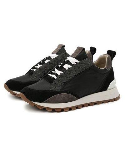Комбинированные кожаные кроссовки с подкладкой Brunello Cucinelli