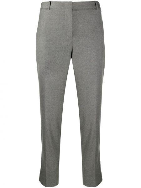 Шерстяные серые укороченные брюки эластичные Fabiana Filippi