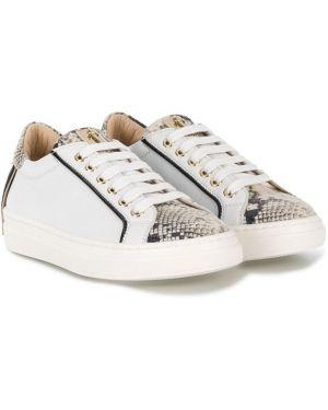 Белые кроссовки из искусственной кожи на шнуровке с тиснением Cesare Paciotti Kids