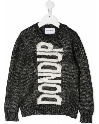 Прямой акриловый черный джемпер круглый Dondup Kids