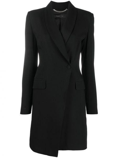 Шерстяной черный удлиненный пиджак на пуговицах Federica Tosi
