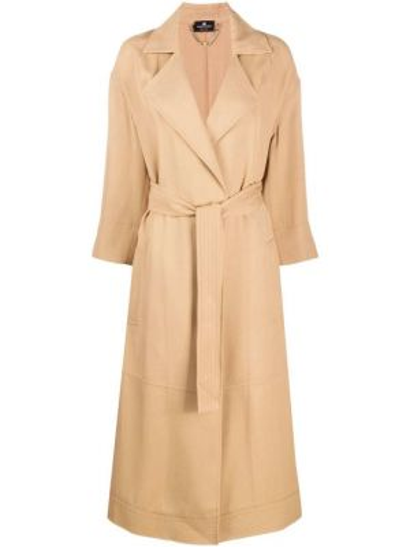 Коричневое пальто с поясом с лацканами из вискозы Elisabetta Franchi