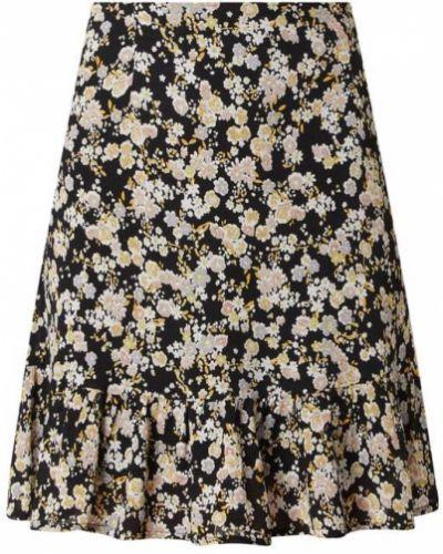 Spódniczka mini w kwiaty - czarna Pieces