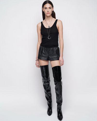 Кожаные шорты эластичные Saint Laurent