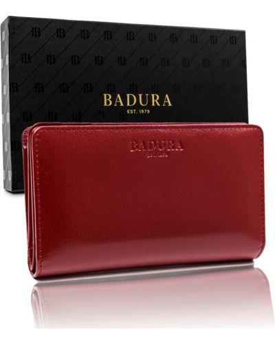 Красный кожаный кошелек для монет на молнии Badura