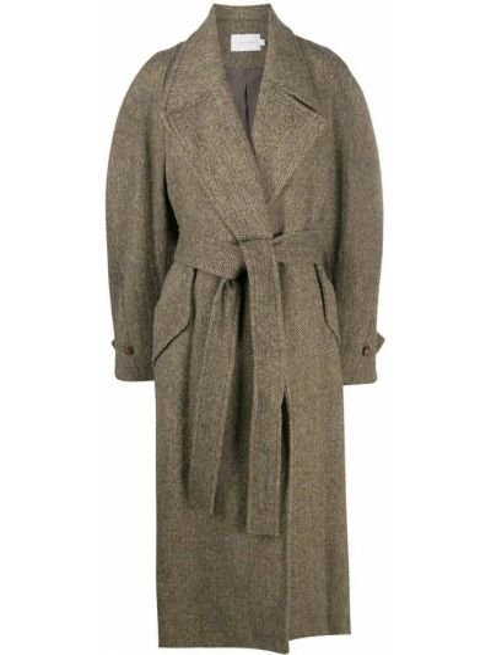 Коричневое шерстяное пальто классическое свободного кроя Low Classic