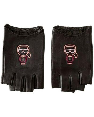 Czarne rękawiczki bez palców Karl Lagerfeld