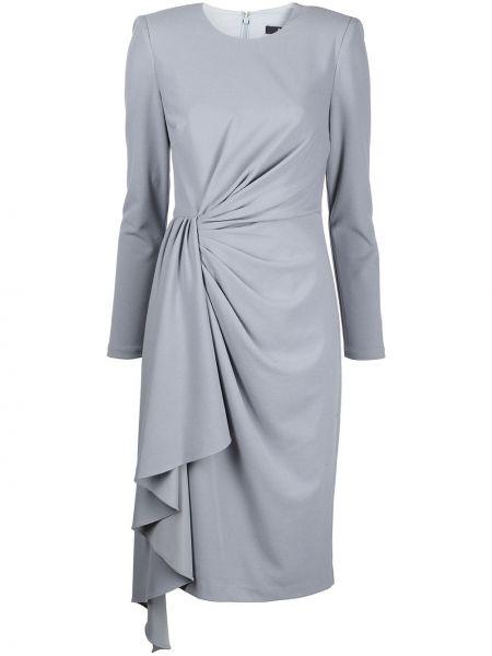 Серое платье макси с длинными рукавами Badgley Mischka