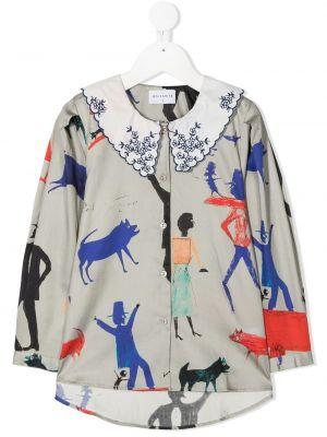 Серая с рукавами ватная хлопковая рубашка Wolf & Rita