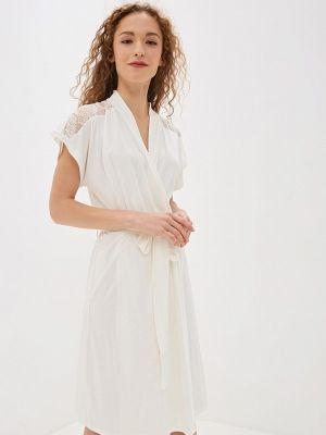 Трикотажный белый домашний халат Luisa Moretti
