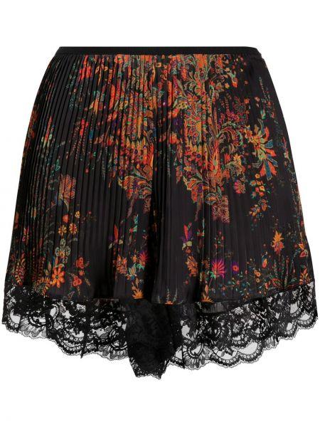 Плиссированные кружевные черные шорты Paco Rabanne