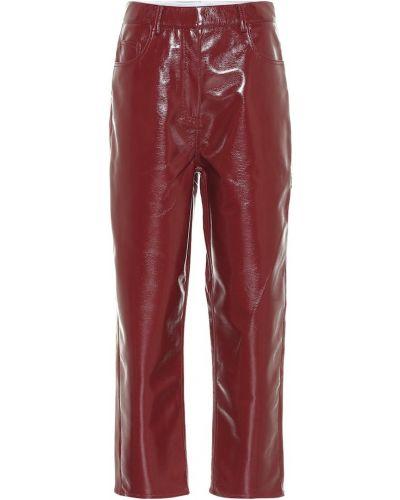 Кожаные коричневые укороченные брюки Tibi