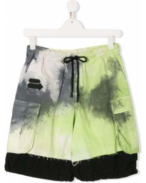 Нейлоновые зеленые шорты с поясом с заплатками Cinzia Araia Kids