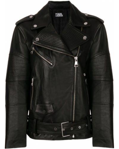 Кожаная куртка свободная байкерская Karl Lagerfeld
