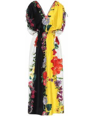 Платье макси в полоску с цветочным принтом Oscar De La Renta
