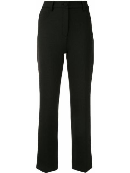 Прямые черные с завышенной талией укороченные брюки Theory