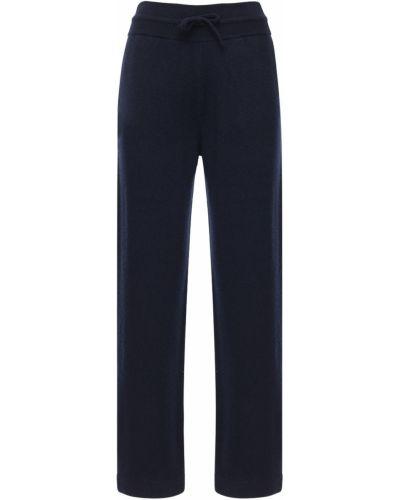 Кашемировые синие свободные брюки с завязками свободного кроя Agnona