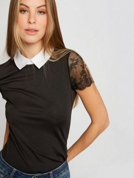 Блузка с коротким рукавом черная весенний Morgan