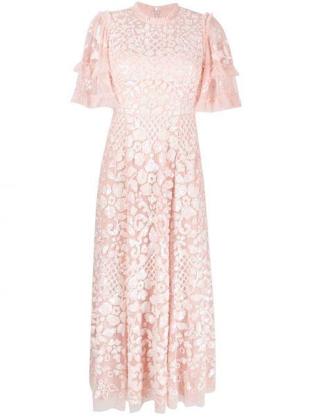 Платье миди с короткими рукавами - розовое Needle & Thread