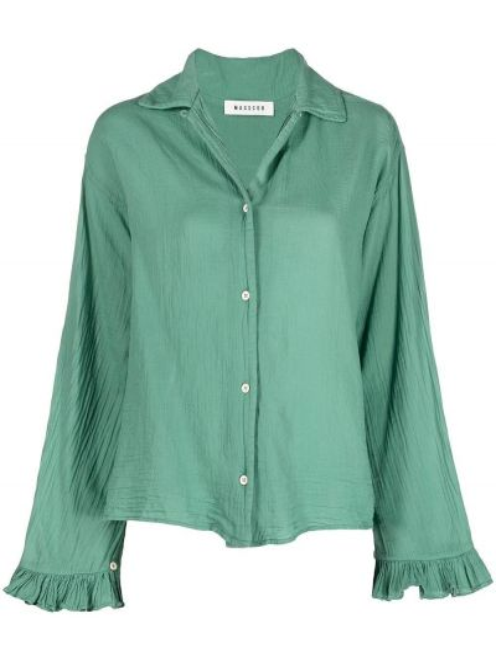 Хлопковая зеленая с рукавами рубашка Masscob