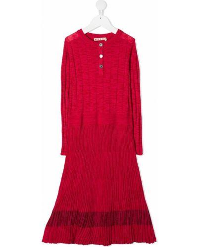 Розовое платье с рукавами на пуговицах с вырезом круглое Marni Kids