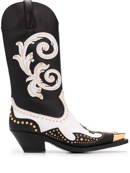 Buty na obcasie na pięcie kwadratowy Versace