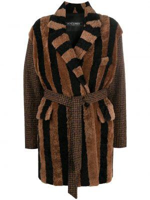 Коричневое пальто классическое из альпаки с поясом Simonetta Ravizza