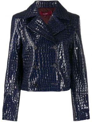 Синяя кожаная короткая куртка двубортная Sies Marjan