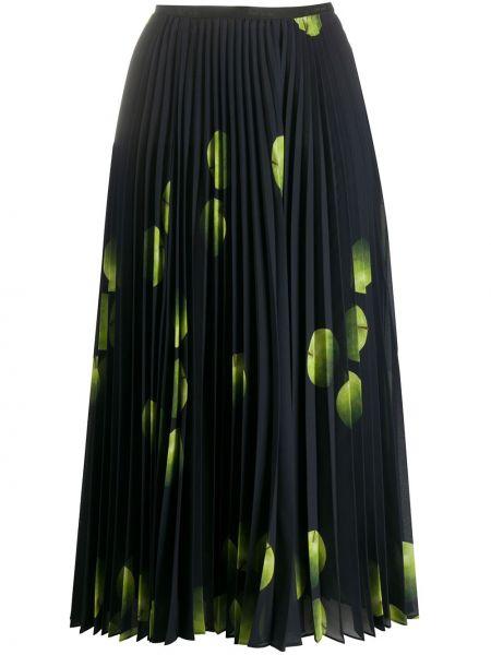 Черная плиссированная юбка миди с поясом Paul Smith