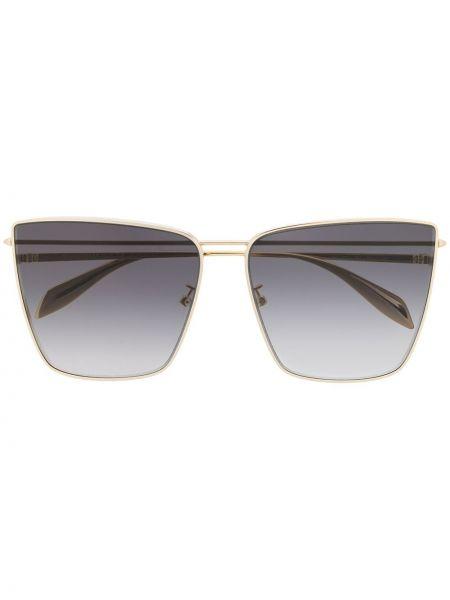 Золотистые желтые солнцезащитные очки Alexander Mcqueen