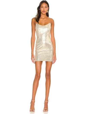 Złota sukienka mini Superdown