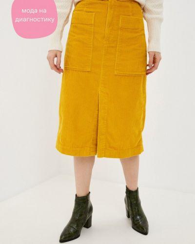 Желтая прямая юбка карандаш Gap