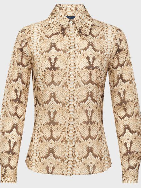 Коричневая шелковая блузка на пуговицах Luisa Spagnoli