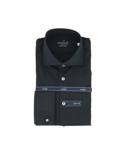 Деловая хлопковая черная классическая рубашка Van Laack