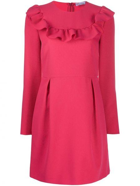 Длинное розовое платье с длинными рукавами круглое Redvalentino