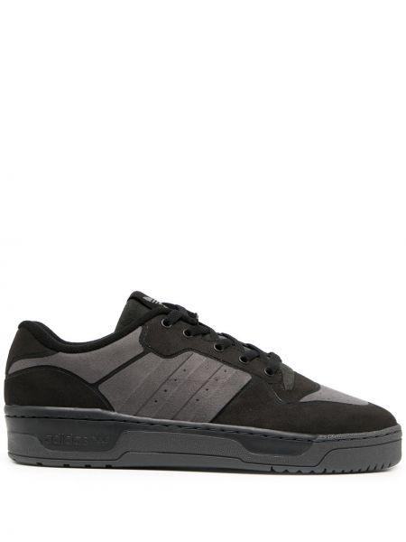 Базовый черный ажурный топ на шнуровке Adidas