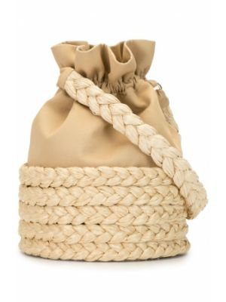 Коричневая плетеная большая сумка на шнурках 0711