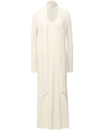Шерстяное теплое белое платье Chloé