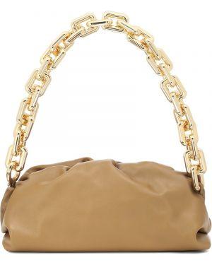 Золотистая желтая цепочка из золота из натуральной кожи Bottega Veneta