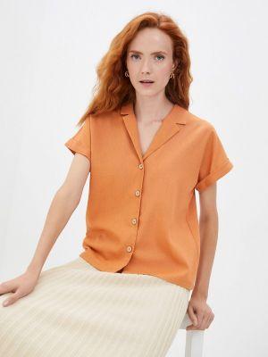 Оранжевая рубашка с коротким рукавом летняя Am One