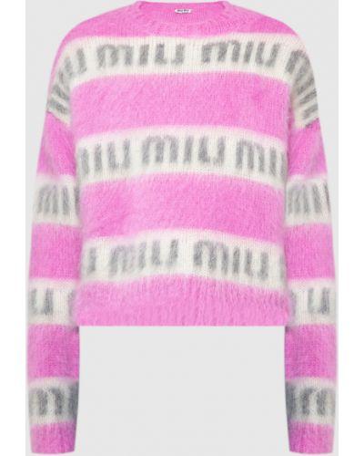 Свитер с узором - розовый Miu Miu