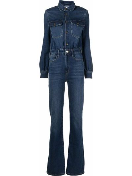 Синий с рукавами джинсовый комбинезон с карманами Frame