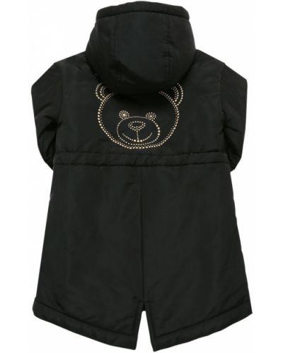 Нейлоновая черная парка с карманами Moschino