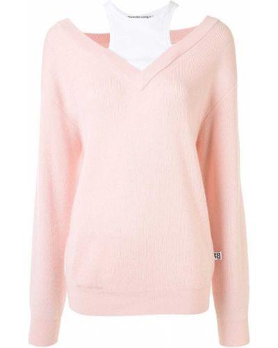 Шерстяной розовый джемпер с открытыми плечами в рубчик T By Alexander Wang