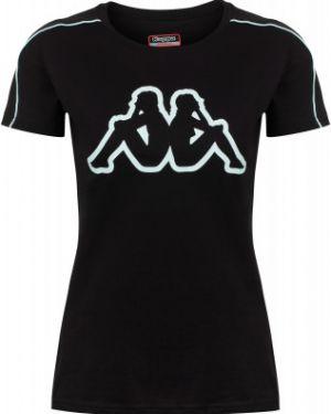 Хлопковая футбольная приталенная черная спортивная футболка Kappa