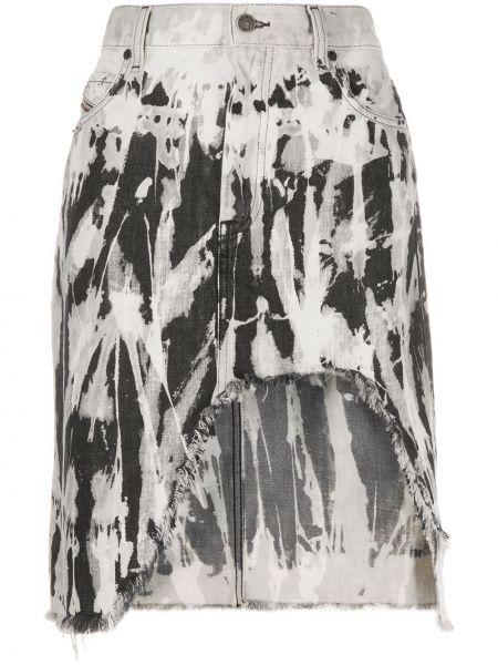 Классическая джинсовая юбка на молнии с бахромой с карманами Diesel