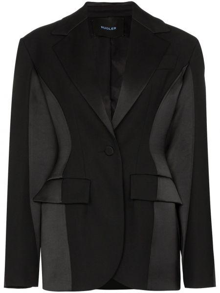 Черный приталенный удлиненный пиджак на пуговицах Mugler